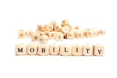 Word with dice mobility. Word with dice on white background mobility royalty free stock photos