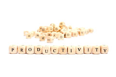 Word with dice productivity Royalty Free Stock Photos