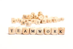 Word with dice teamwork. Word with dice on white background Royalty Free Stock Photography