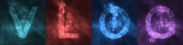 Word die de gestileerde kleurrijke Brieven VLOG van letters voorzien van VLOG Ruimte royalty-vrije illustratie