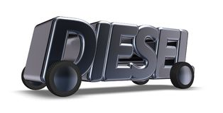 The word diesel on wheels. 3d rendering royalty free illustration