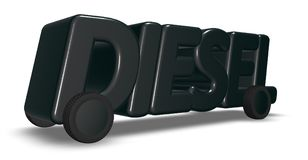 The word diesel on wheels. 3d rendering Stock Photo