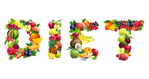 Word DIET composed of different fruits with leaves Royalty Free Stock Image