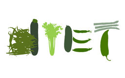 Word diet made of green vegetables. Word diet composed of green vegetables such as asparagus, long pepper, green beans, celery, zucchini, cucumber and peas Stock Illustration