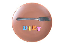 Word diet and fork on a plate Royalty Free Stock Image