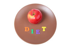 Word diet and red apple Stock Photography