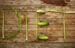 The word diet from vegetables Stock Photography