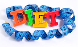 Word Diet written by colorful letters with blue measuring tape o Stock Photos
