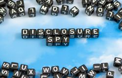 The word Disclosure spy. On the sky background Royalty Free Stock Images
