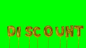 Word discount from helium golden balloon letters floating on green screen -. Word discount from helium golden balloon letters floating on green screen stock footage