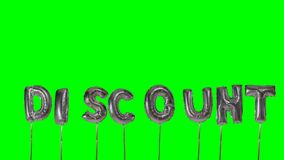 Word discount from helium silver balloon letters floating on green screen -. Word discount from helium silver balloon letters floating on green screen stock video