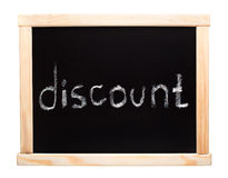 Word discount writtent on blackboard Royalty Free Stock Photo