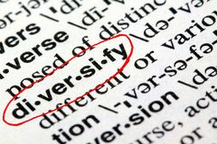 The word diversify in a dictionary Royalty Free Stock Images