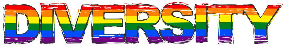 Word DIVERSITY with pride rainbow flag symbol of LBGT under it, distressed grunge look vector illustration