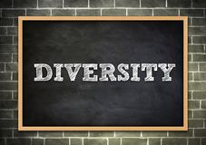 The word DIVERSITY. Written on chalkboard Royalty Free Stock Photography