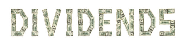 Word DIVIDENDS made of dollars Royalty Free Stock Photography