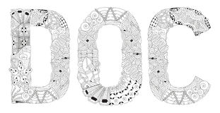 Word DOC for coloring. Vector decorative zentangle object Stock Photos