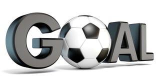 Word DOEL met de voetbal, voetbalbal 3d Vector Illustratie