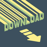 The word download with an arrow. 3d vector. Illustration.  Can be used for wallpaper, web page background, web banners Stock Image