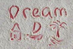 Word dream and pictures of home, boat on flour background Royalty Free Stock Photos