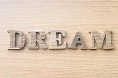 The word DREAM from wooden alphabet Stock Photo