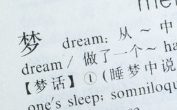 Word Dream written in Chinese language Royalty Free Stock Image
