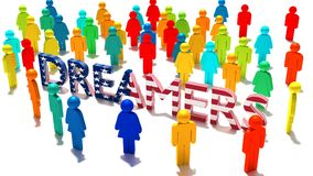 The word dreamers with an american flag texture surrounded by a Stock Photography