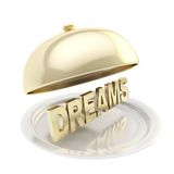 Word Dreams on salver plate under the food cover Stock Photos