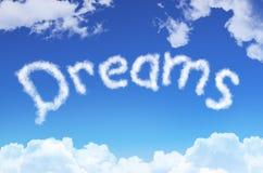 Word dromen van de wolken tegen de blauwe hemel vector illustratie