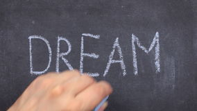 Word droom, met krijt op bord wordt geschreven dat stock footage
