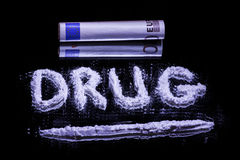 Word Drug, cocaine powder and 50 euro Stock Photo