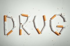 Word DRUG, made of cigarettes Stock Photo
