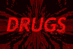 Word drugs on shattered background Royalty Free Stock Image
