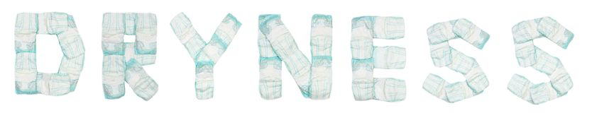 Word dryness laid out baby diapers on a white background, isolate, napkin, inscription stock photos