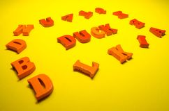 Word duck with wooden letters stock photos