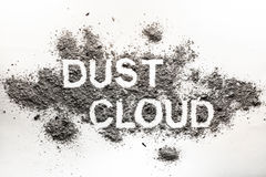 Word dust cloud written in accumulated dust, filth, dirt, ash, s Stock Photos