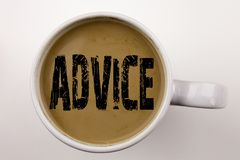 Word, writing Advice text in coffee in cup. Business concept for Suggestion guidance concept on white background with copy space. Stock Images