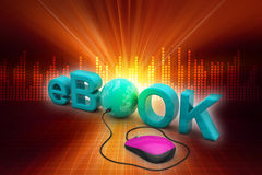 The word e-book connected to a computer mouse Stock Photo