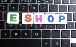 Word E Shop on keyboard background Stock Photography