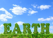Word Earth made of green grass on blue sky Stock Photography