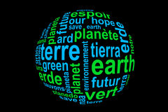 Word Earth, translated in many languages, blue and green on black. Background Royalty Free Stock Photo