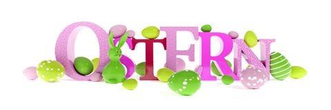 The word easter in german language. 3d illustration of the word easter in german language Stock Photo