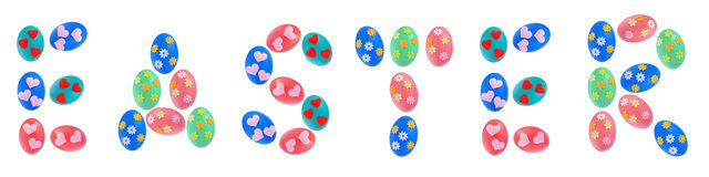 Word Easter text made by Easter Eggs Stock Photos