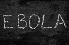 The word ebola written with chalk on black stone. Stock Photos