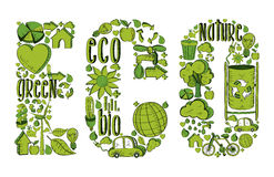 Word eco with environmental icons Royalty Free Stock Image