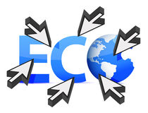 Word Eco globe and cursor illustration design Stock Images