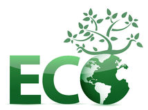 Word Eco globe and tree illustration Royalty Free Stock Image