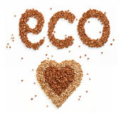 Word eco and Heart symbol Stock Photo