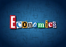 The word Economics made from cutout letters. On a blue background Royalty Free Stock Photography