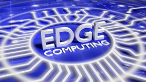 The word edge computing on a blue network surface surrounded by Royalty Free Stock Photography